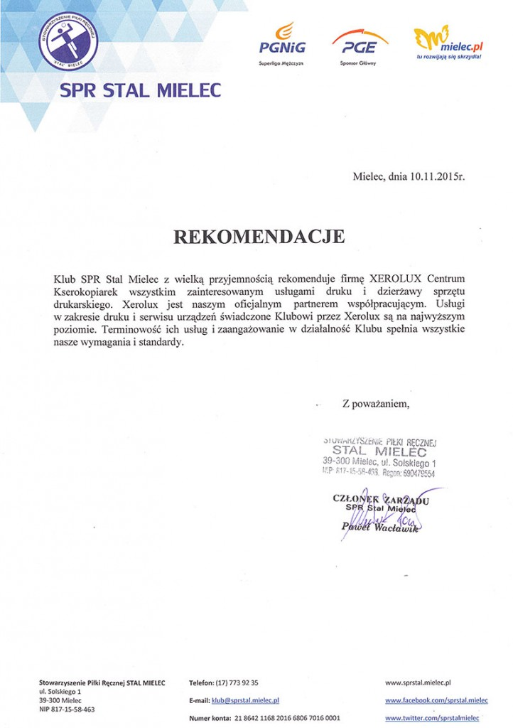 Rekomendacja SPR Stal Mielec